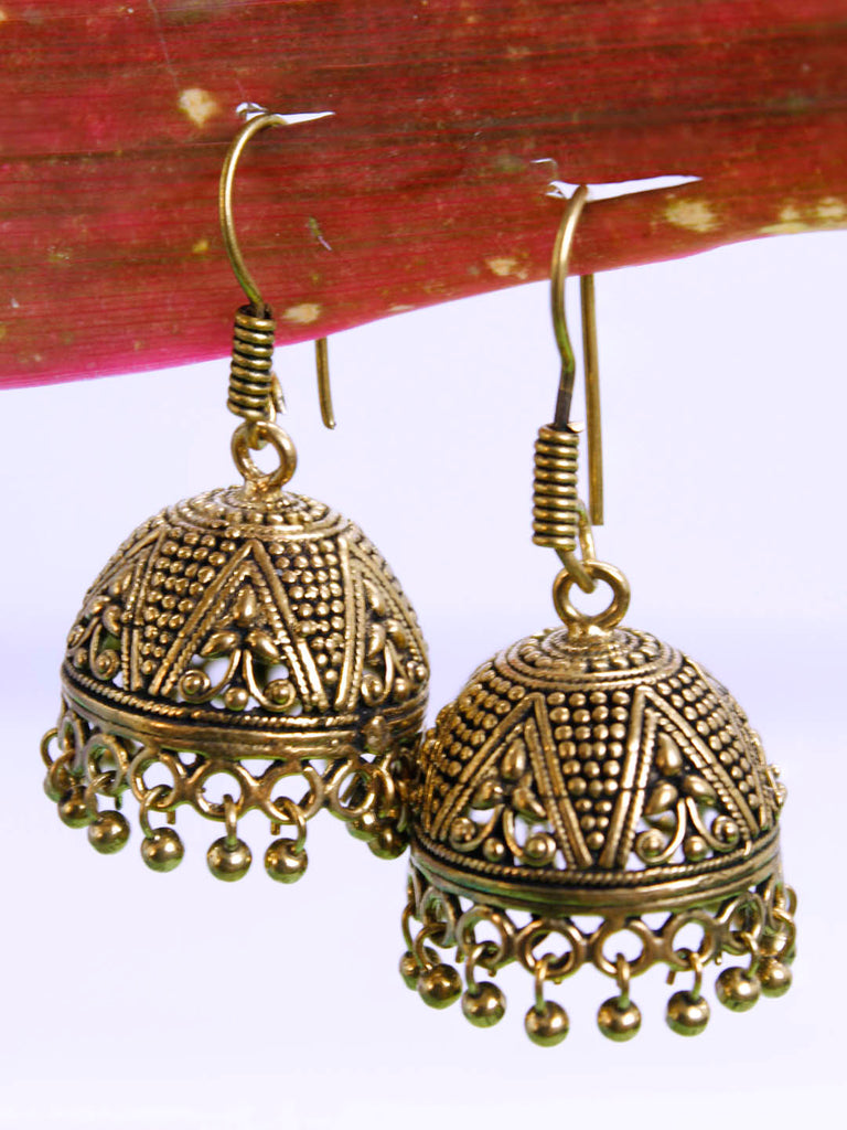 Gold Plated Geometric Design Hook Earring-OXIDIZED1-Earring