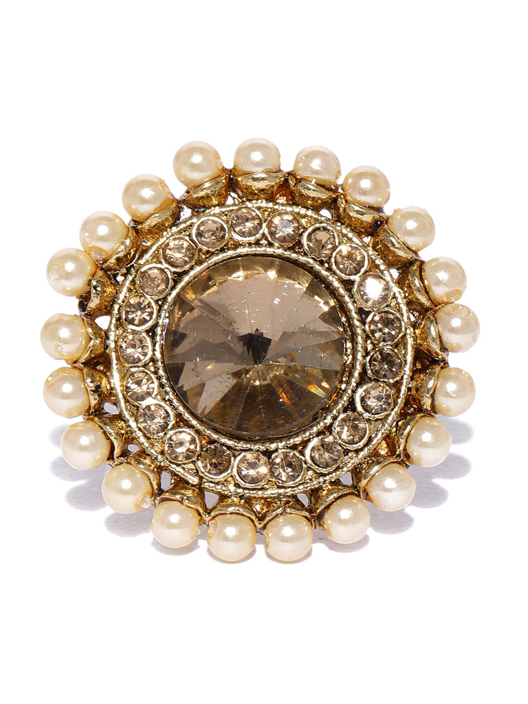 Zaveri Pearls Combo Of 2 Gold Tone Traditional Finger Ring-ZAVERI PEARLS-Combo