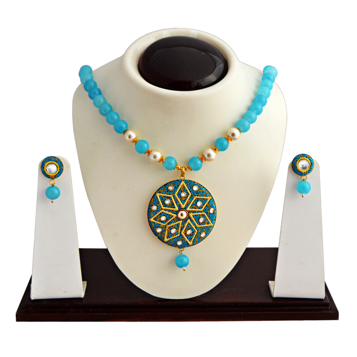 Sky Blue Colour Beads Floral Design With Kundan Meenakari Necklace Set