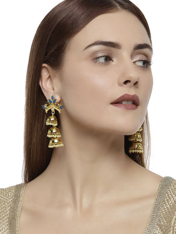 Gold Tone Multi Layered Traditional Jhumka Earring