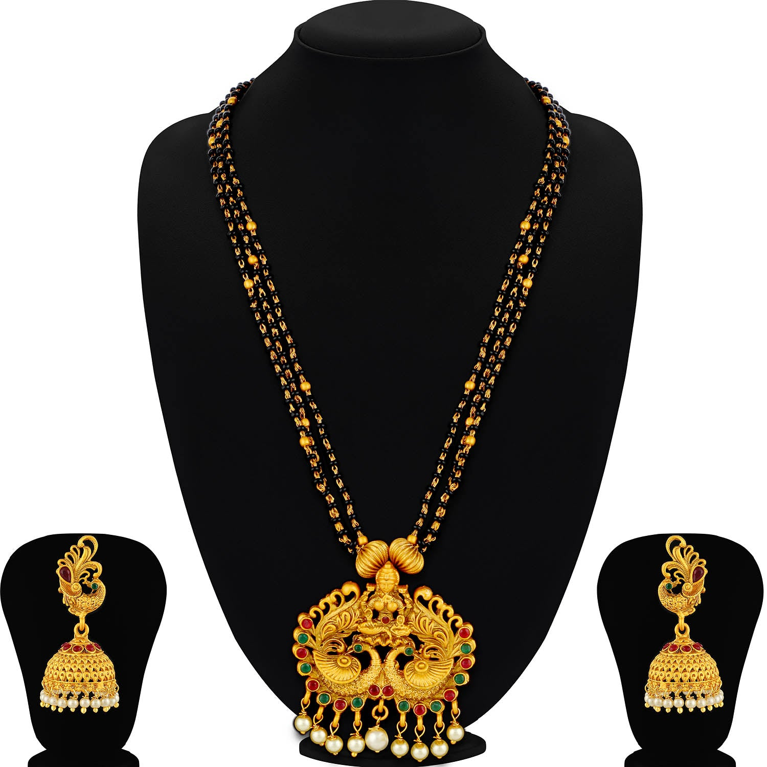 Sukkhi Spectacular Pearl Gold Plated Goddess Design Mangalsutra Set For Women-SUKKHI-Mangalsutra Set