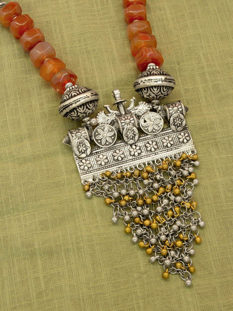 Silver Plated Brown Color Semi Precious Carnelian Beads With A Dual Tone Pendant Long Necklace Set By Jewel Box-JEWEL BOX-Necklace Set