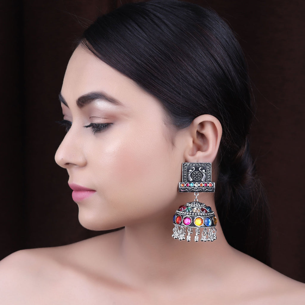 Silver Plating Multicolor Peacock Design Farbella Jhumka Earring By Cippele-Cippele-Earring