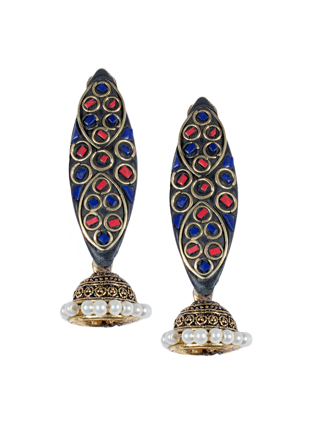 Blue And Red Colour Spherical Shape Jhumka Earring