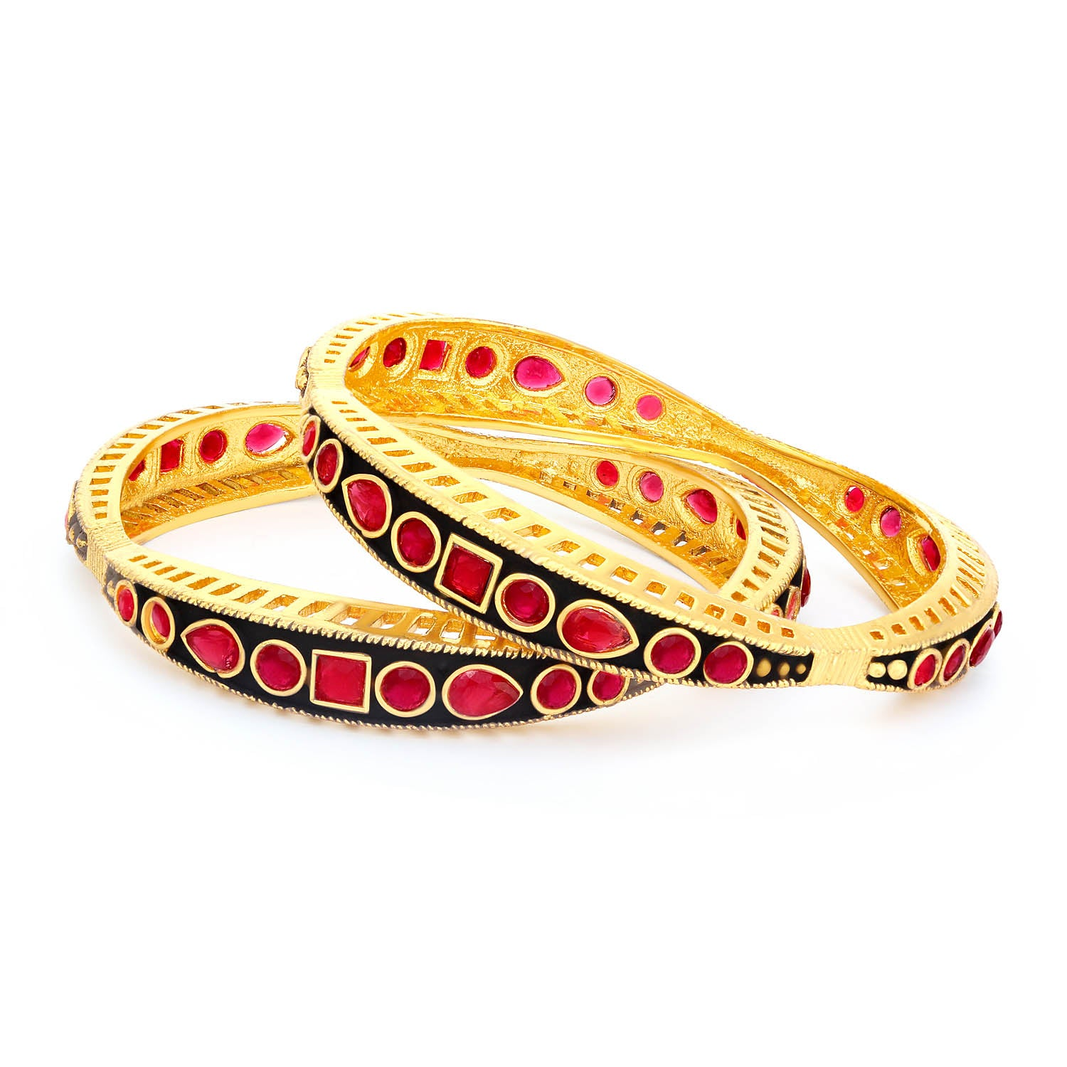 Sukkhi Glittery Gold Plated Meenakari Bangle Set For Women-SUKKHI1-Bangle