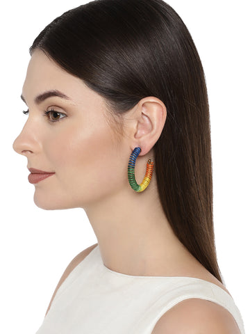 Combo Of 3 Zaveri Pearls Multi Color Hoop Earring