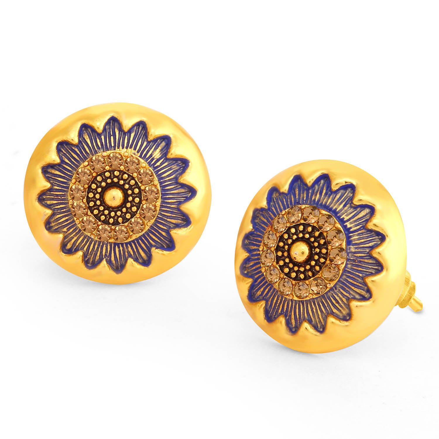 Sukkhi Sparkling LCT Stone Gold Plated Floral Blue Mint Meena Collection Stud Earring For Women-SUKKHI1-Earring