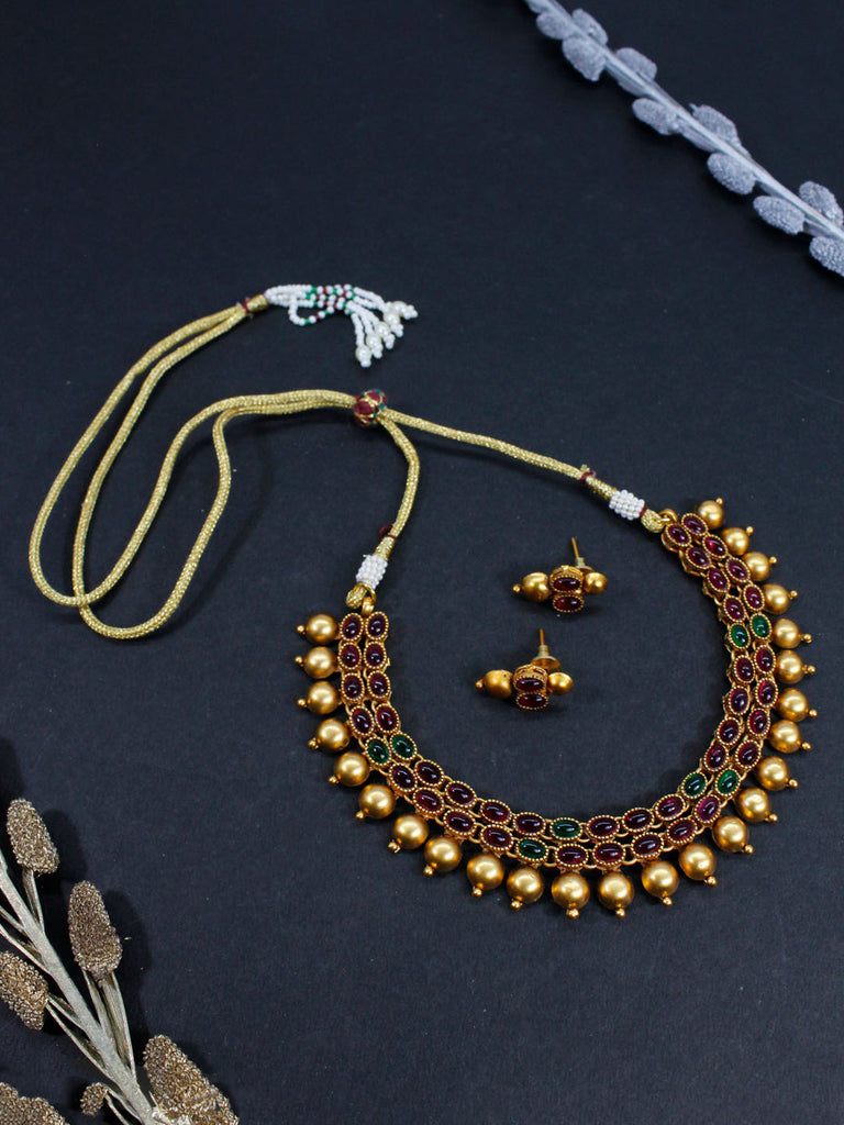 Matt Gold Finish Choker Necklace Set With Red And Green Kemp Stones