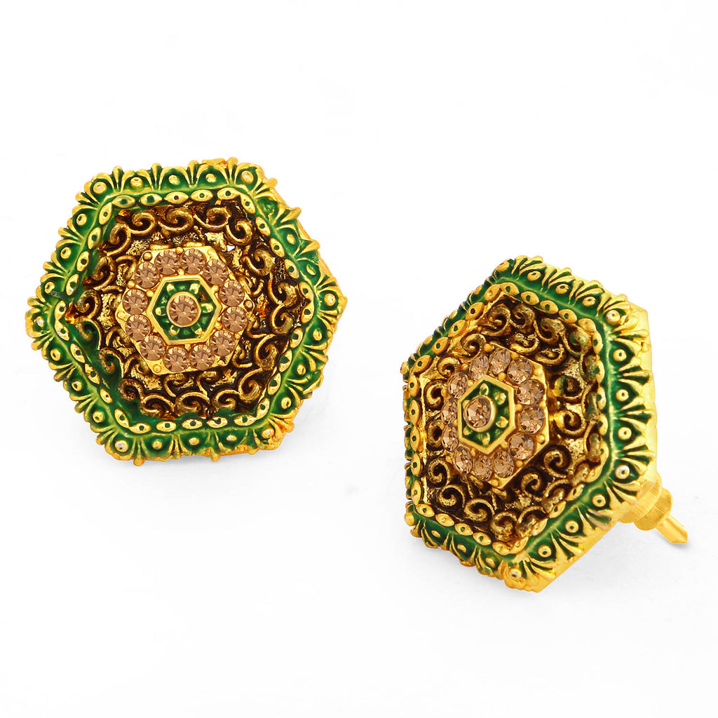 Sukkhi Classic LCT Stone Gold Plated Hexagonal Green Mint Meena Collection Earring For Women-SUKKHI1-Earring