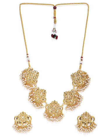 Gold Tone Cut Work Traditional Pearl Necklace Set