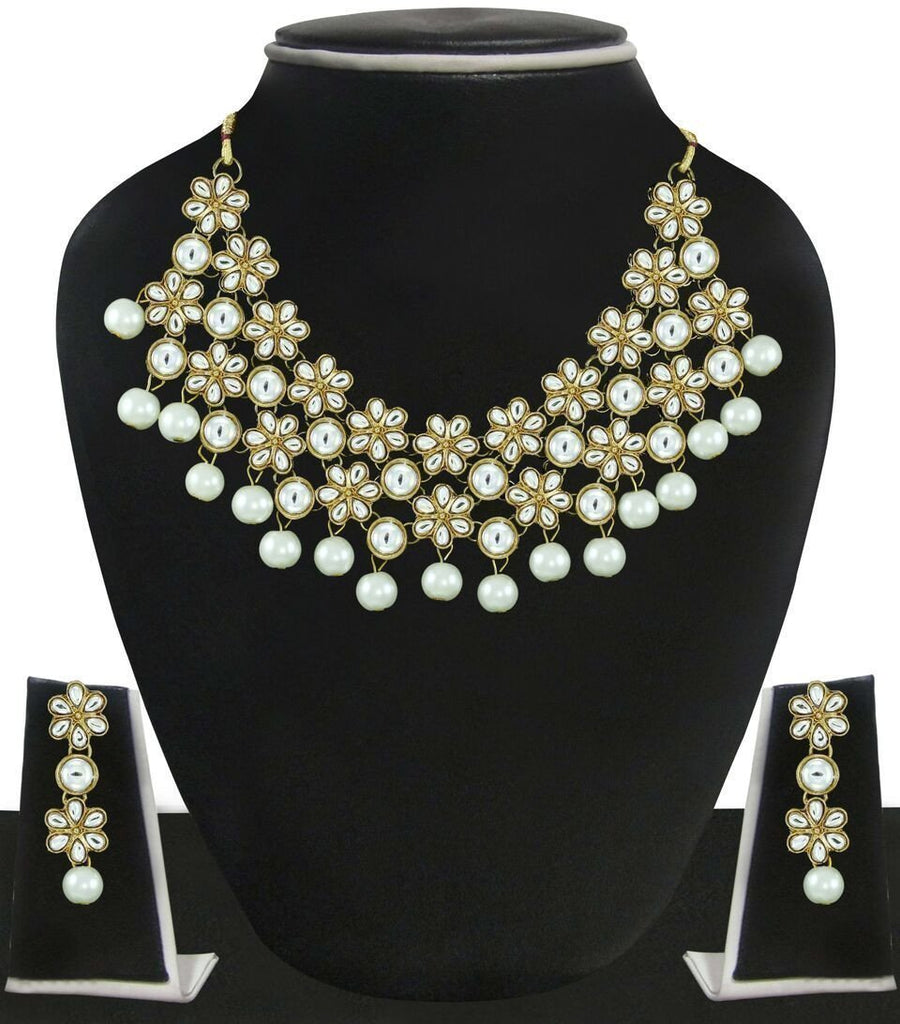 Zaveri Pearls Floral With Pearls Drop Necklace