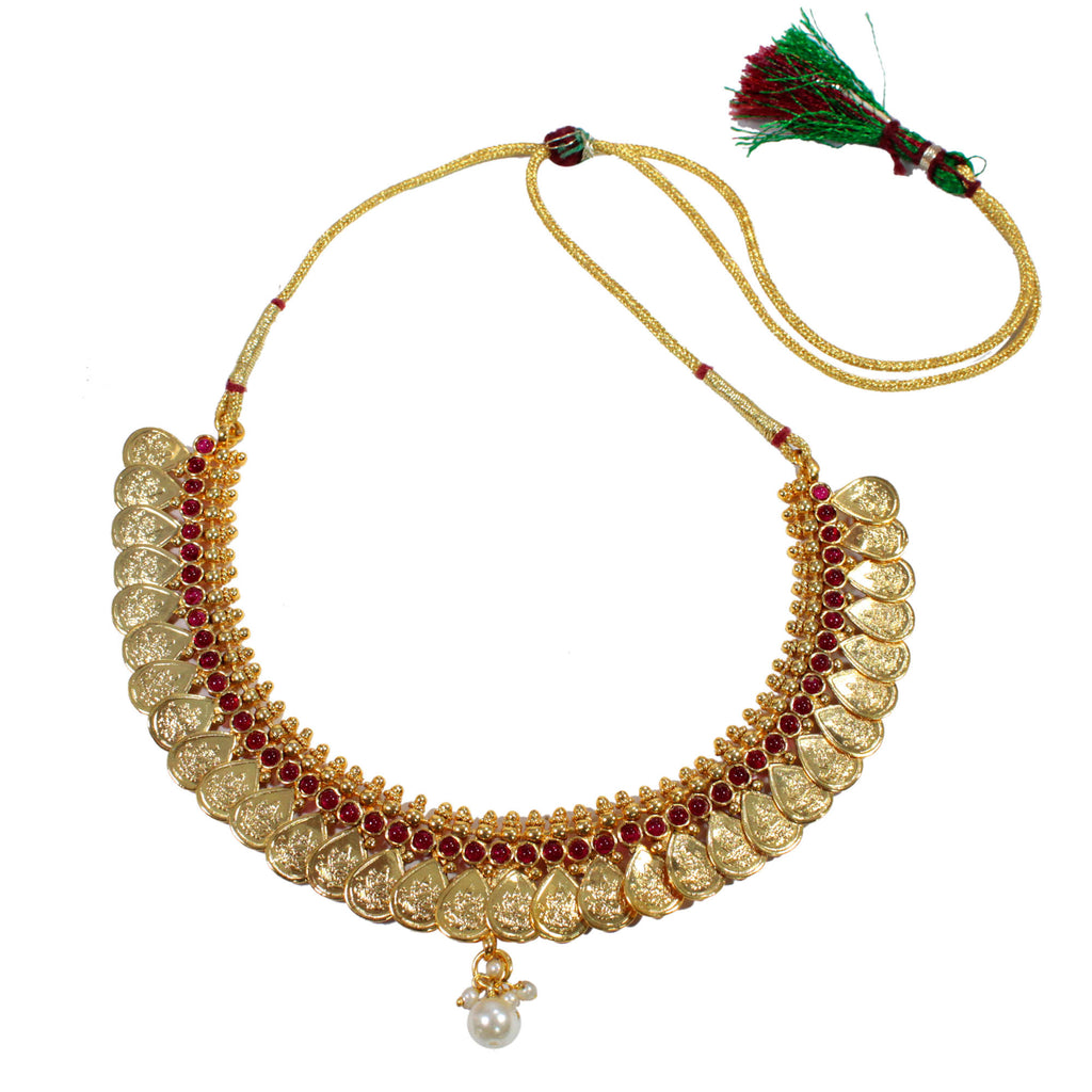 Antique Gold Finish Water Drop And Lakshmi Design Choker Necklace Set