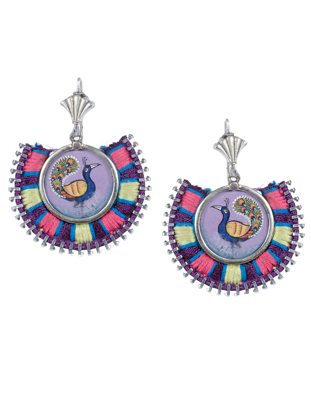 Purple Colour Dancing Peacock Madness Design Dangler Earring