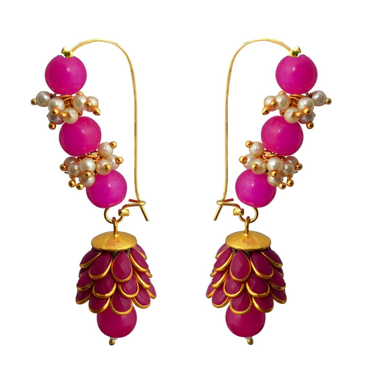 Dark Pink Ethnic Loop with Pacchi Dome Earring
