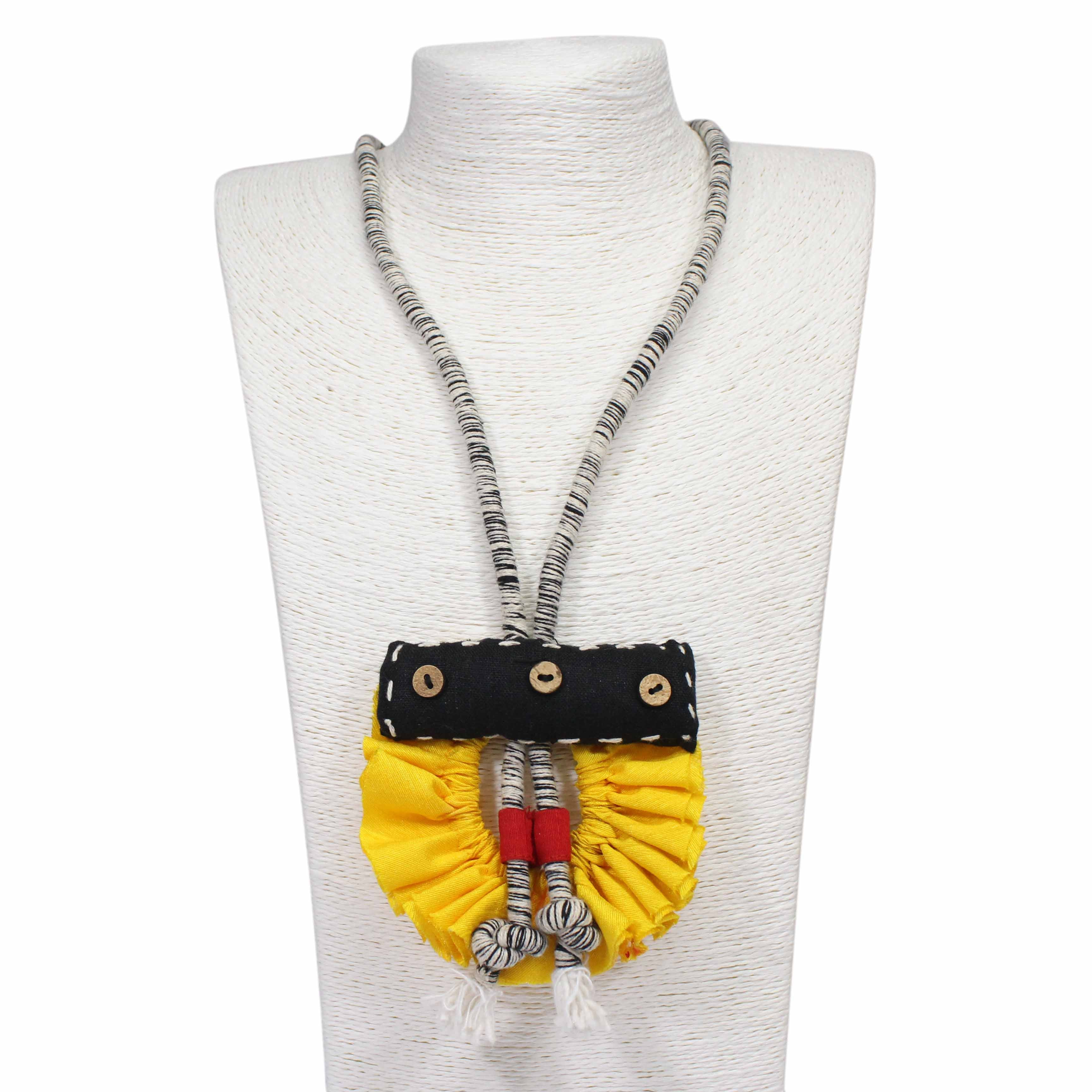 Hand Crafted Yellow Cotton Silk Ruffle With Black And White Yarn String Necklace