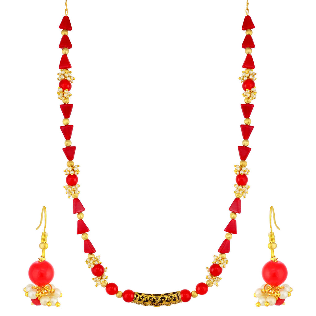 Sukkhi Charming Gold Plated Pearl Long Haram Necklace Set For Women-SUKKHI1-Necklace Set