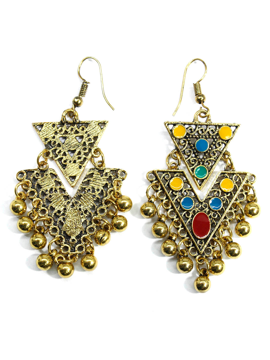 Aana Multicolor Triangular Design Gold Plated Dangler Earring