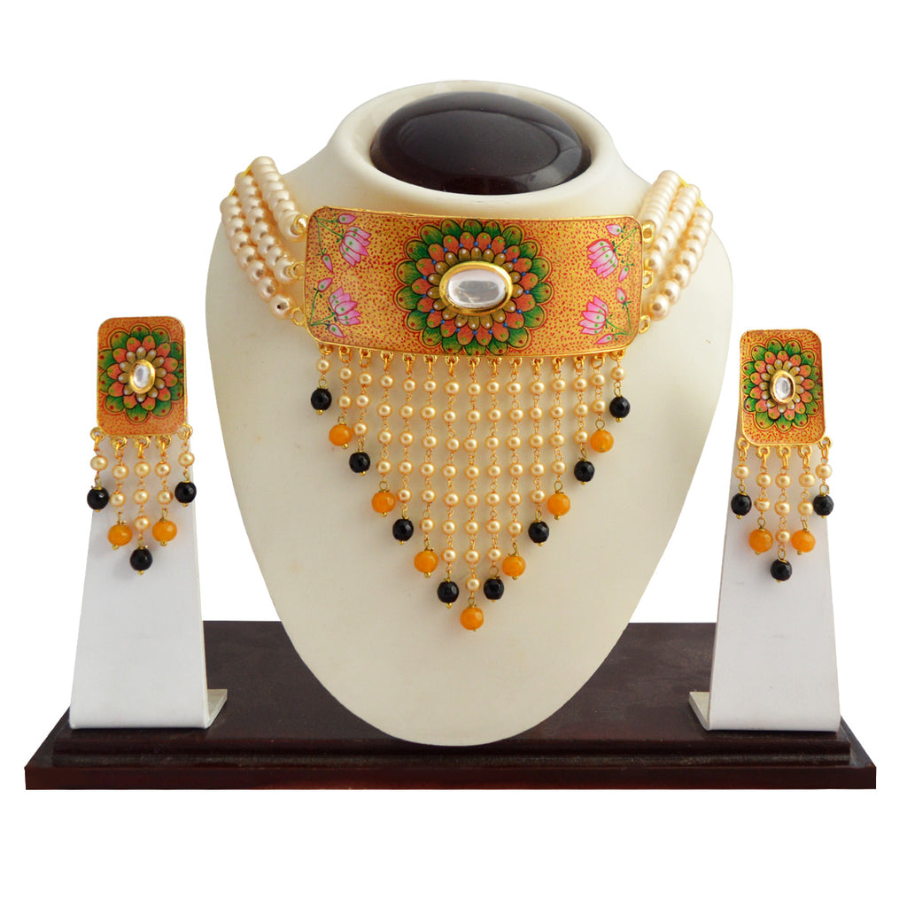 Floral Design Meenakari Gold Plated Necklace Set