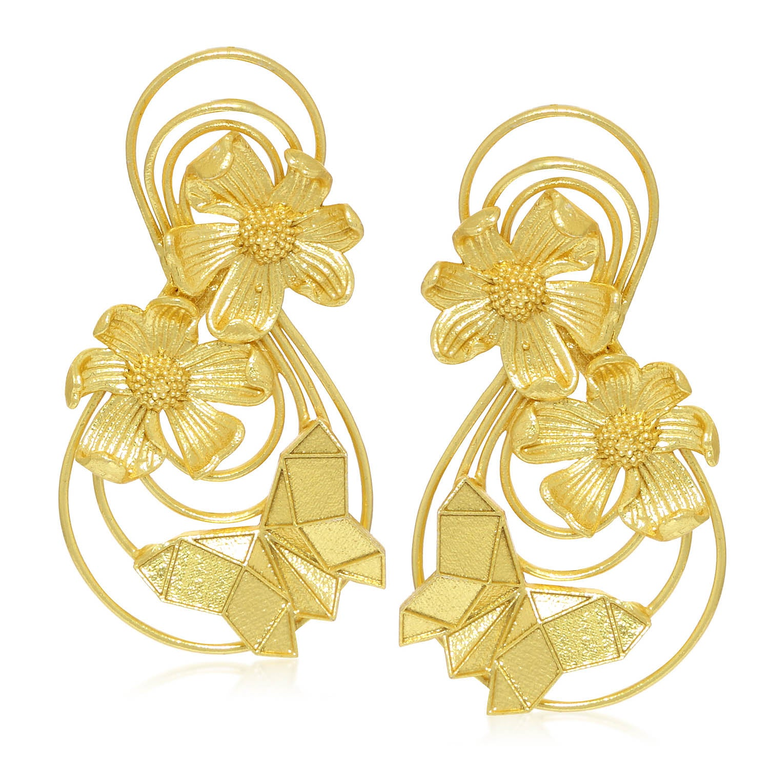 Sukkhi Floral Gold Plated Dangle Earring For Women-SUKKHI1-Earring