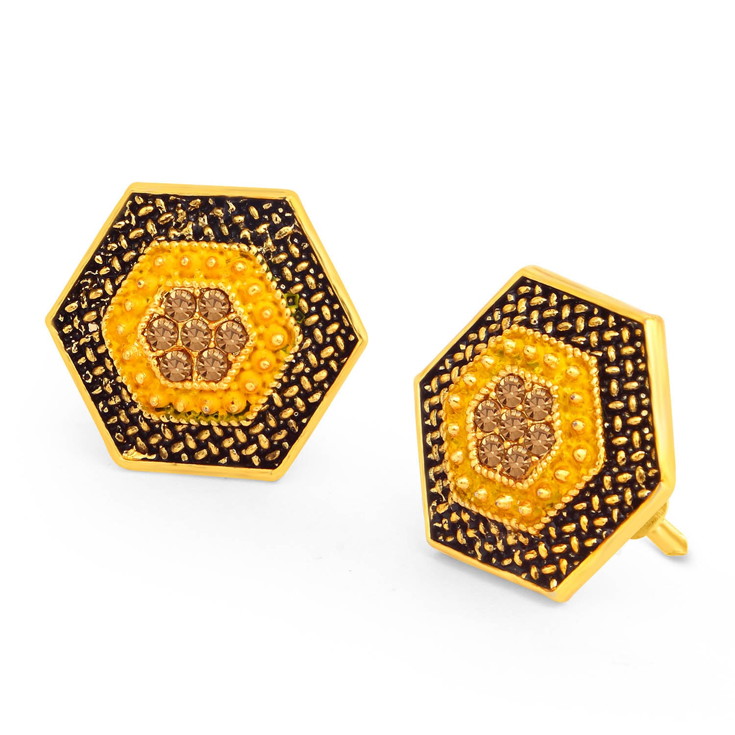 Sukkhi Charming LCT Stone Gold Plated Hexagon Yellow Mint Meena Collection Stud Earring For Women-SUKKHI1-Earring