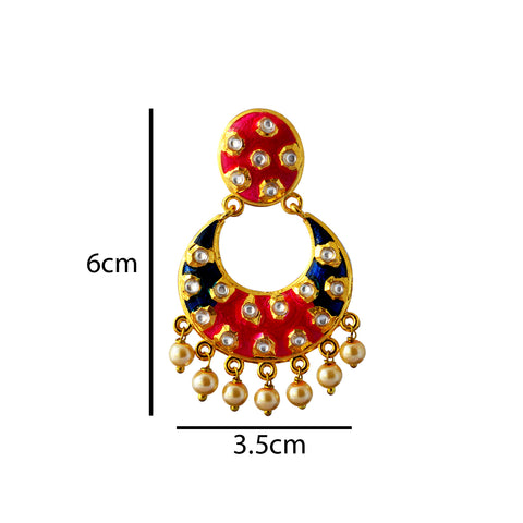 Blue And Pink Meenakari Dangler Earring With Kundan And Pearls