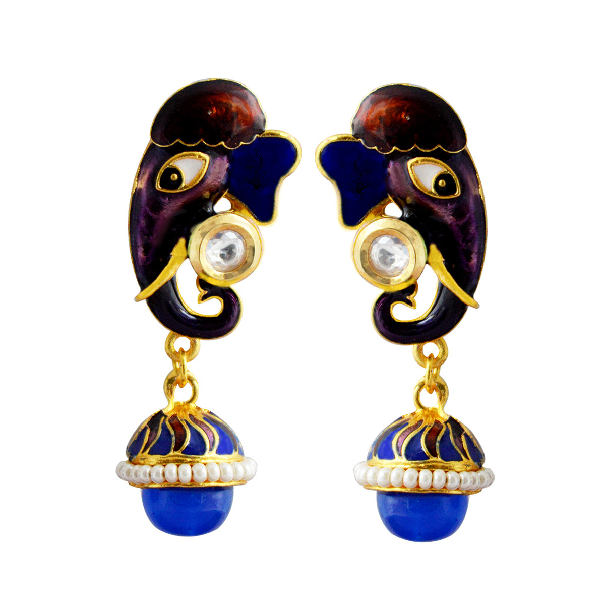 MK Jewellers Meenakari Purple And Blue Reverse Ganesha Design Drop Earring-MK JEWELLERS1-Earring
