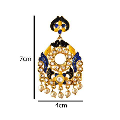 Yellow And Blue Meenakari Kundan Series Floral Frame Dangler Earring