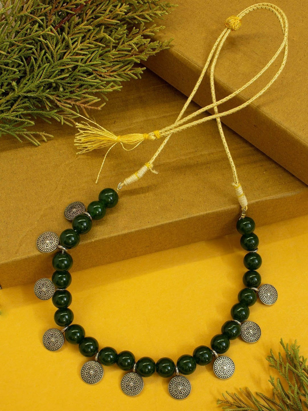 Nishna Designs Silver Plated Floral Design Coins With Green color Agate Beads Choker Necklace-NISHNA DESIGNS-Necklace