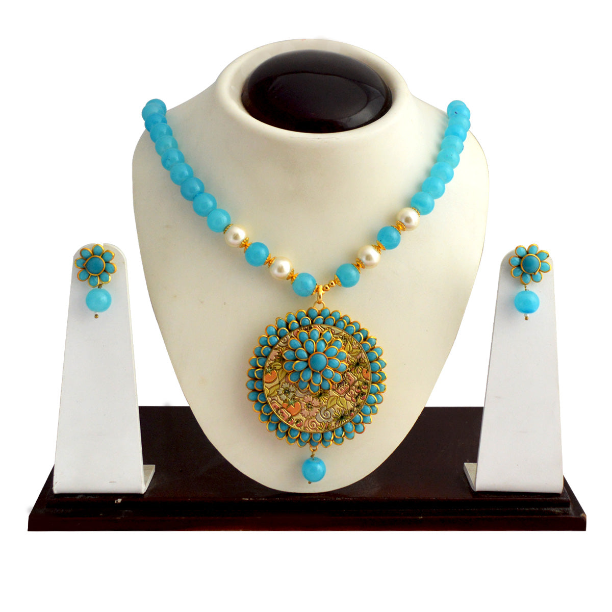 Pachi Work Fabulous Meenakari Necklace Set