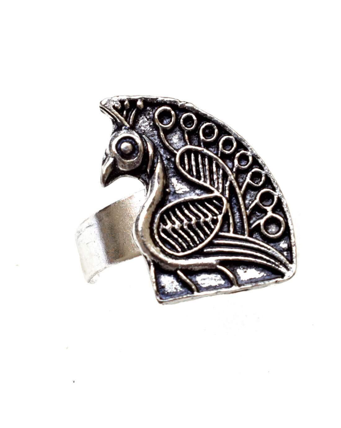 Adjustable Finger Ring In Oxidized Metal Peacock Motif 1