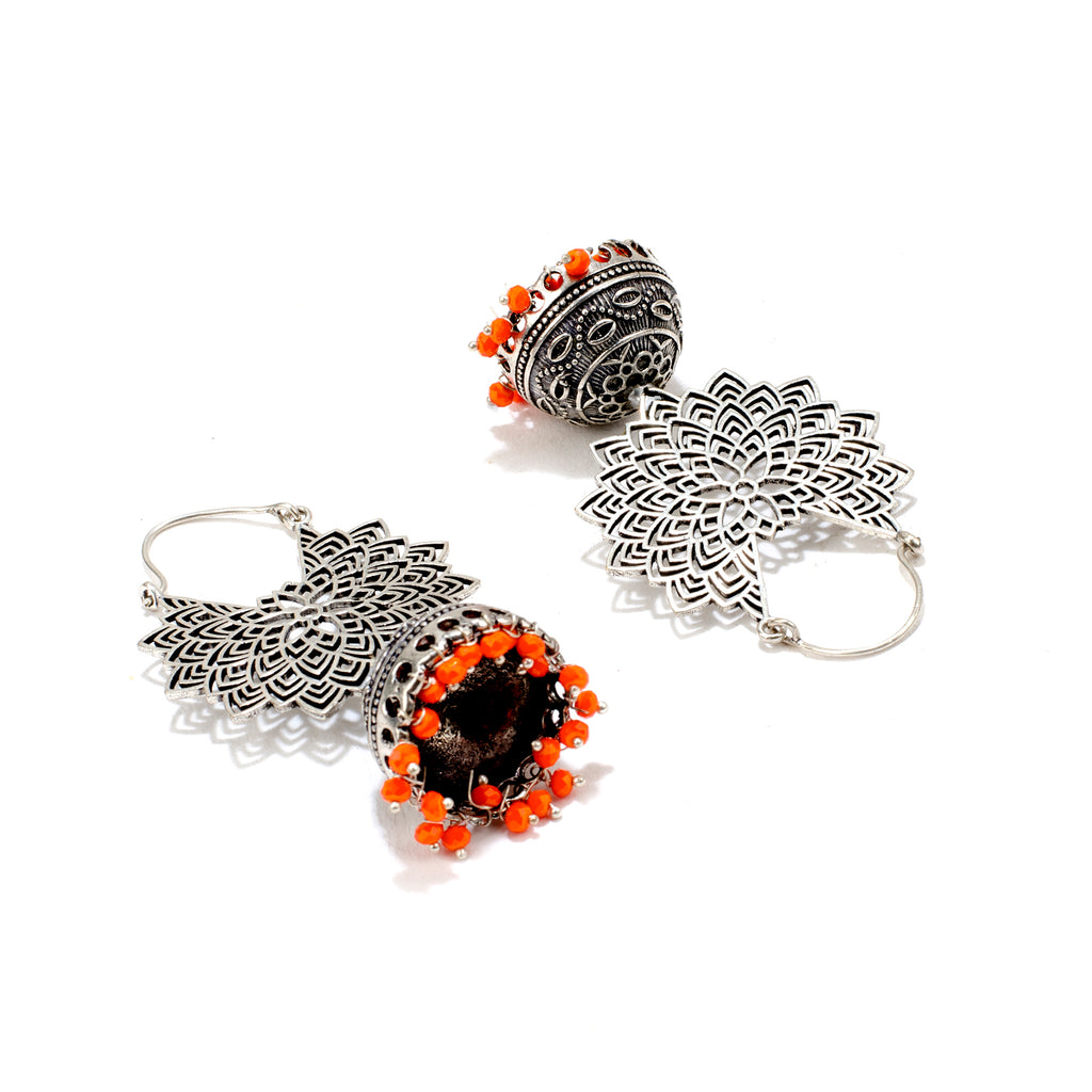 Orange Filigree Jhumka Hoop Earring-ANETRA1-Earring
