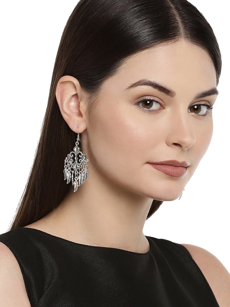 Combo Of 4 Zaveri Pearls Antique Silver Tone Dangle Earring