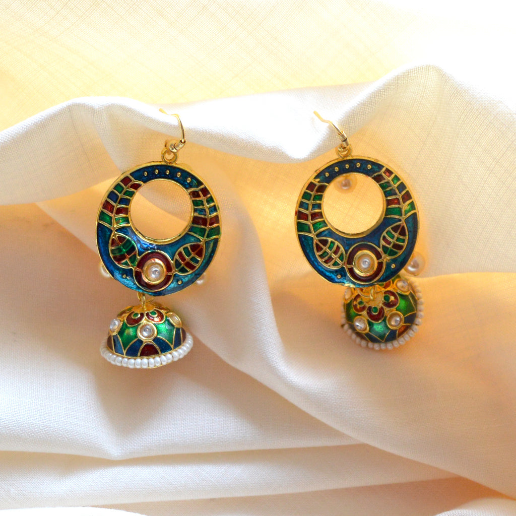 Blue And Green Meenakari Tribal Dual Half Moon Design With Kundan Earring