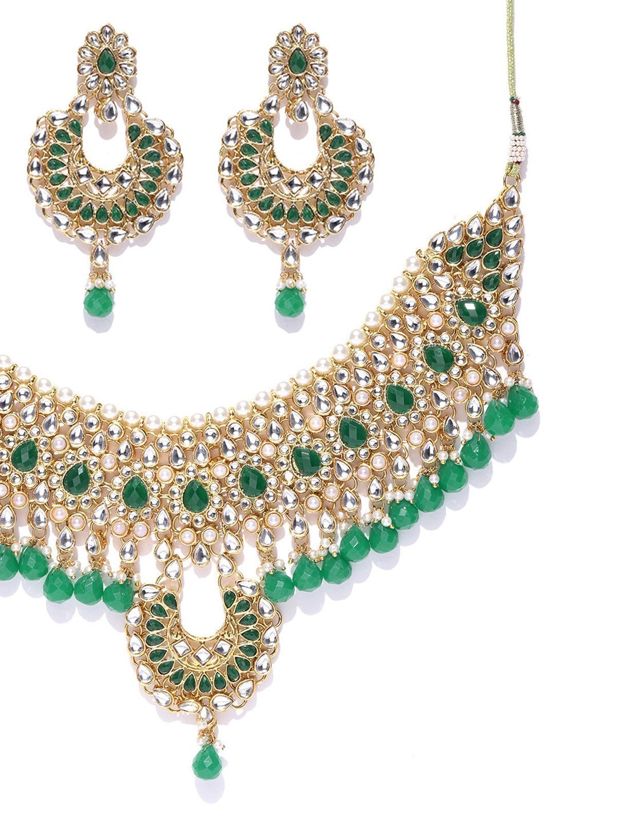 Zaveri Pearls Traditional Kundan And Green Beads Bridal Necklace Set