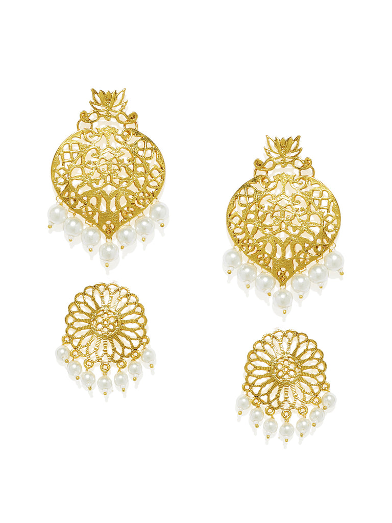 Combo Of 2 Zaveri Pearls Antique Gold Tone Dangle And Drops Earring-ZAVERI PEARLS1-Earring