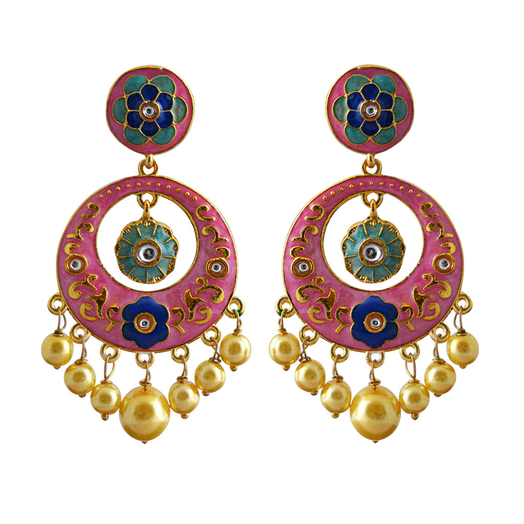 Floral Design Baby Pink Color With Kundan Stone Dangler Earring-MK JEWELLERS1-Earring