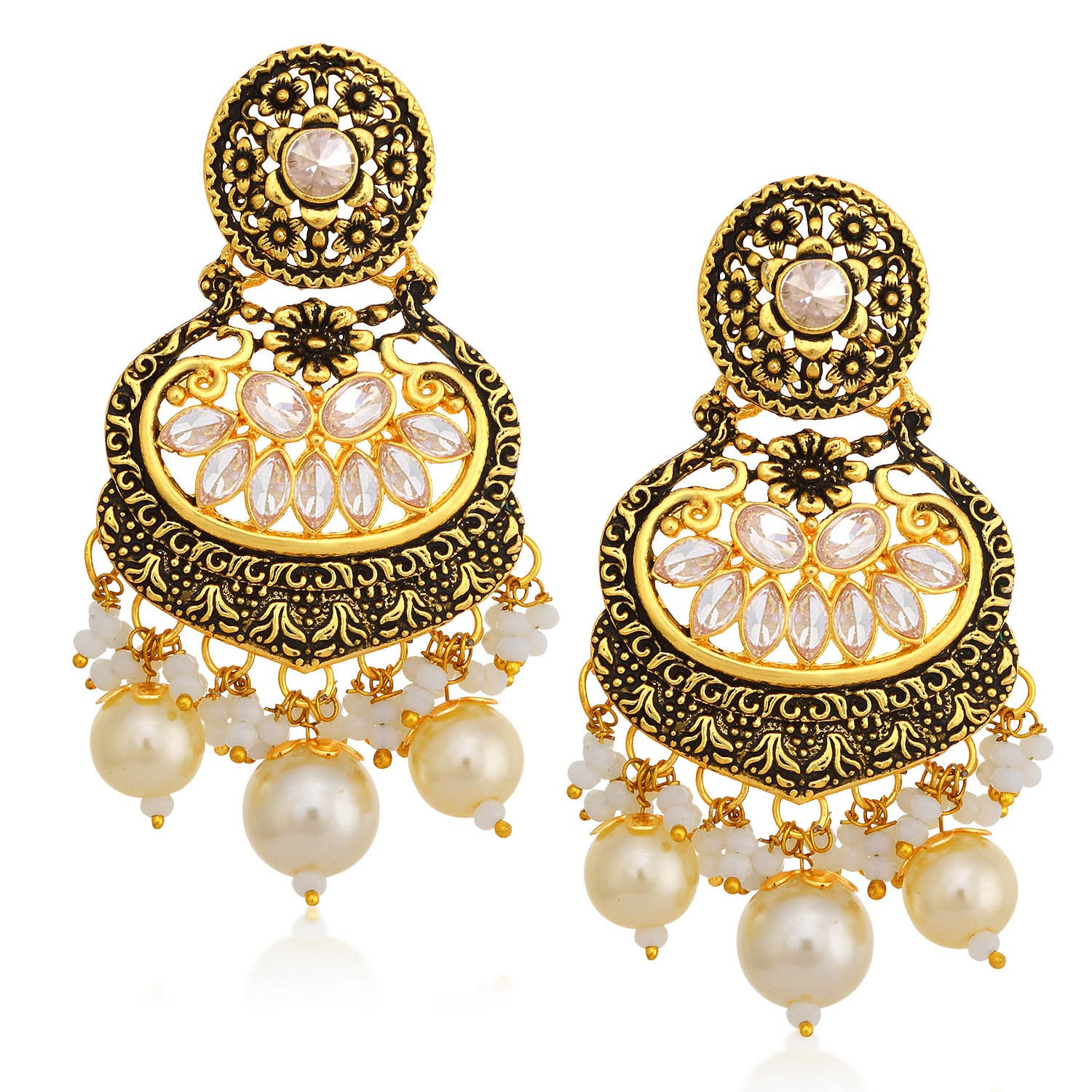 Sukkhi Sparkling LCT Stone Floral Gold Plated Pearl Chandelier Earring For Women-SUKKHI1-Earring