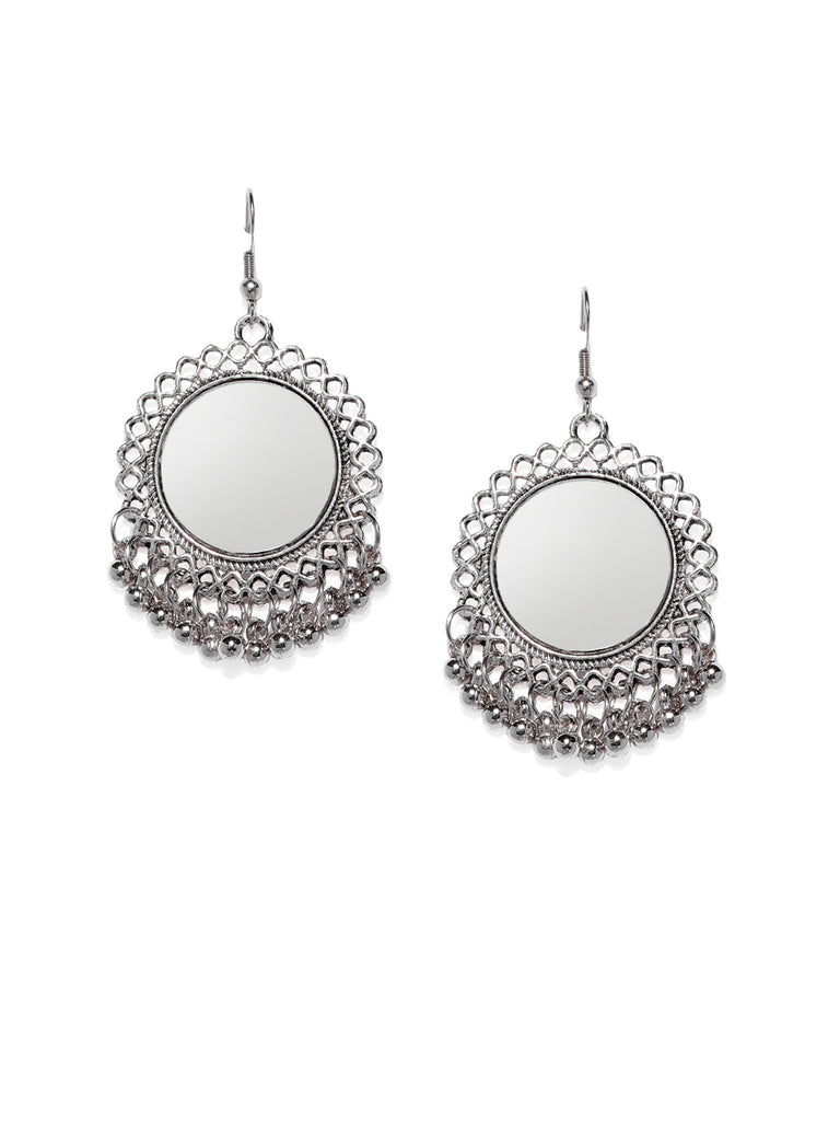 Zaveri Pearls Antique Silver Tone Mirror Dangler And Drop Earring