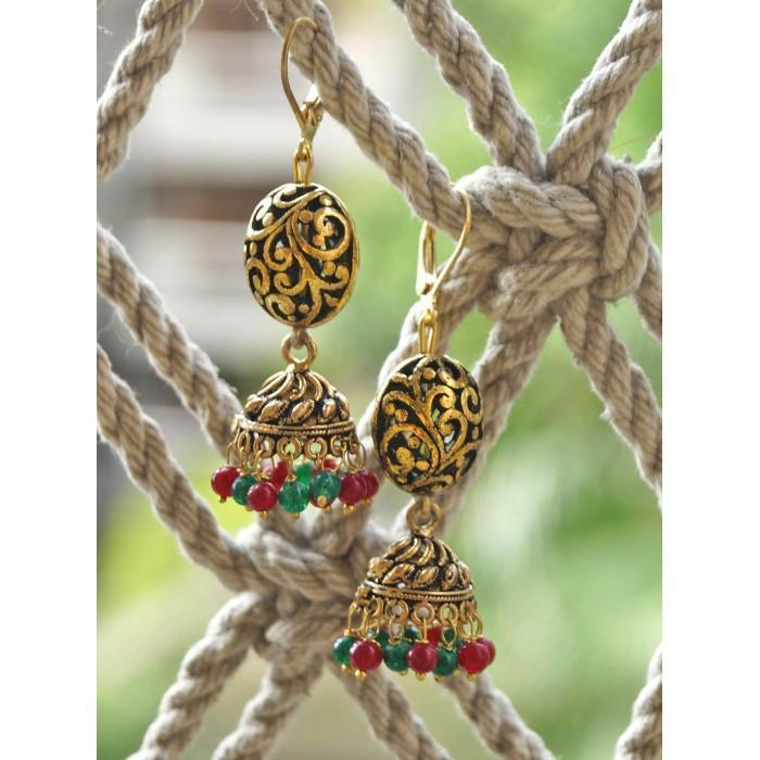 Anetra Red Green Golden Jhumki Earring