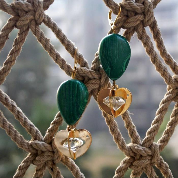 Green Golden Heart Earring