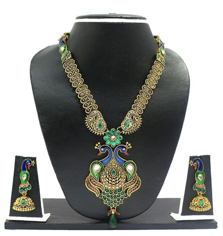 Zaveri Pearls Long Gorgeous Peacock Necklace Set