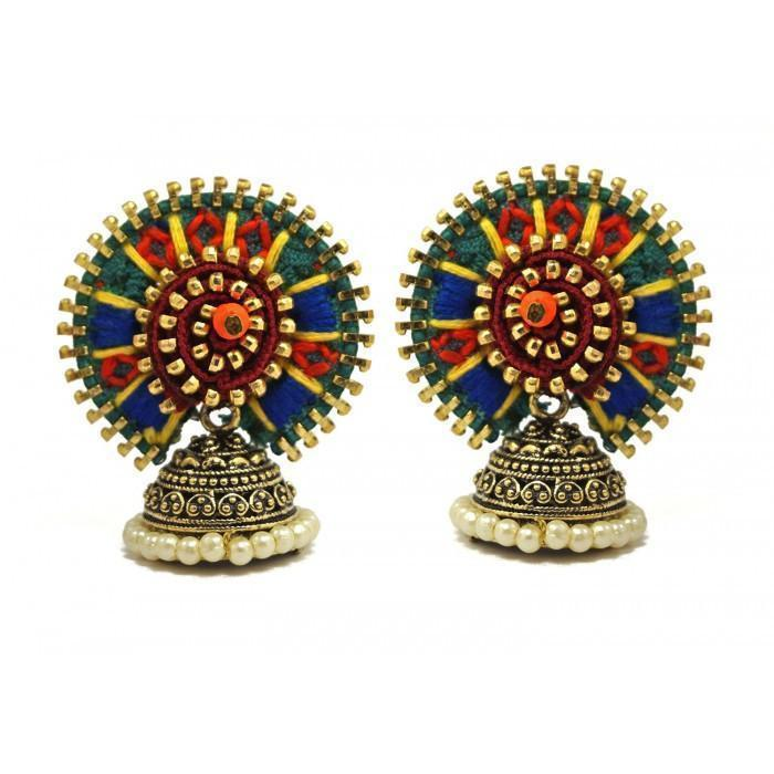 Green Orange Anetra Designer Jodha Earring