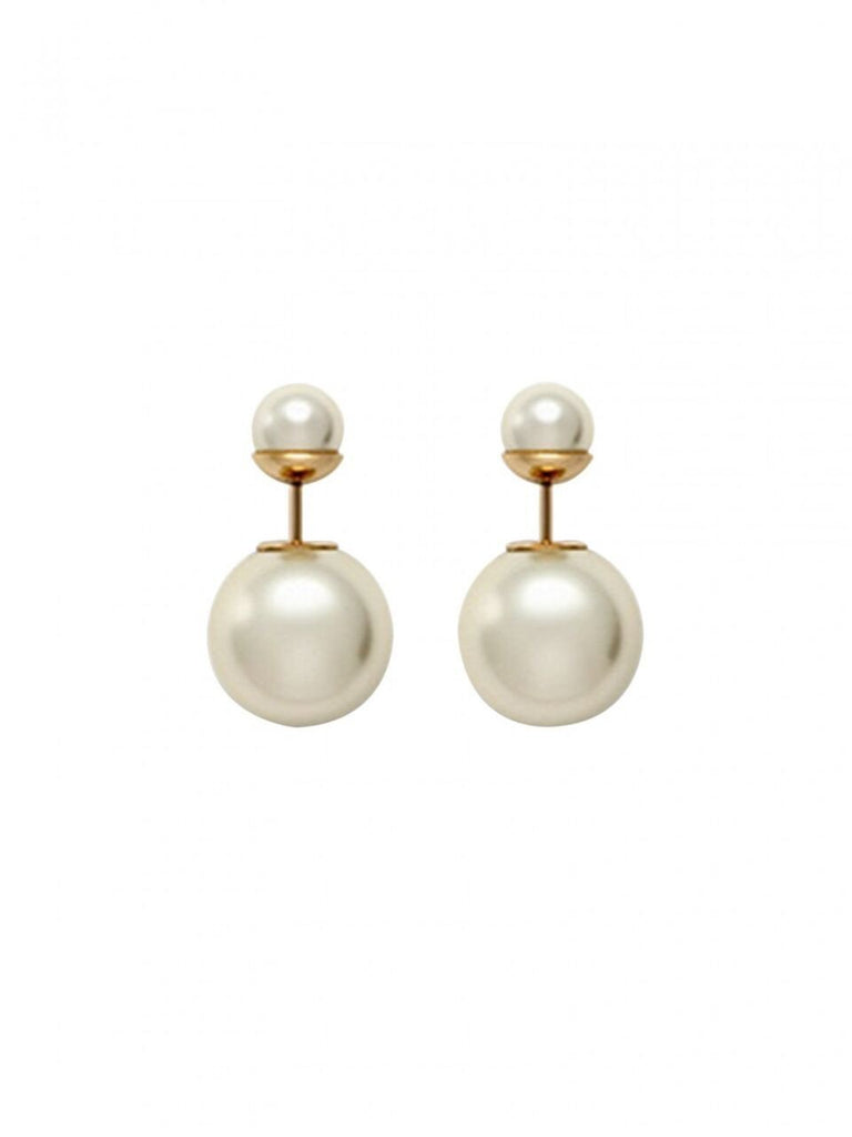 Double Pearl Illusion Studs - White