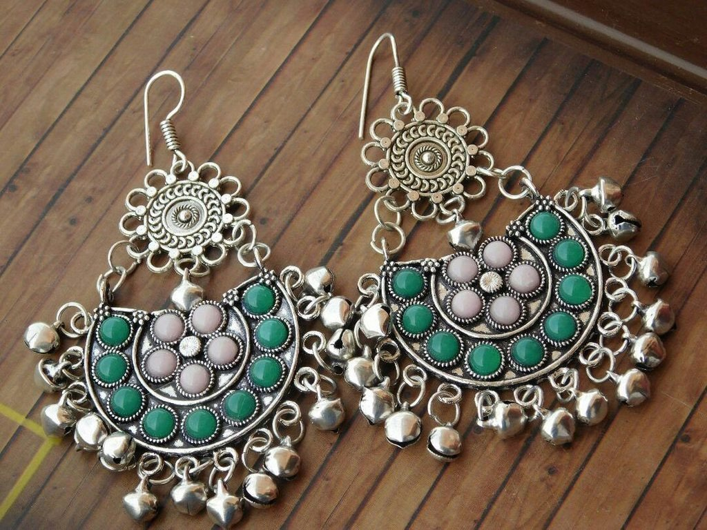 German Silver Afghani Tribal Light Green & White Earring With Hanging Beads