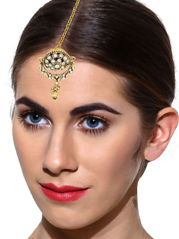 Gold Toned Borla Maang Tika Glittering With Beads By Zaveri Pearls