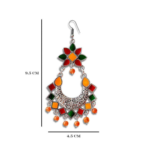 Meenakari Silver Plated Afghani Chand Bali Dangler Earrings