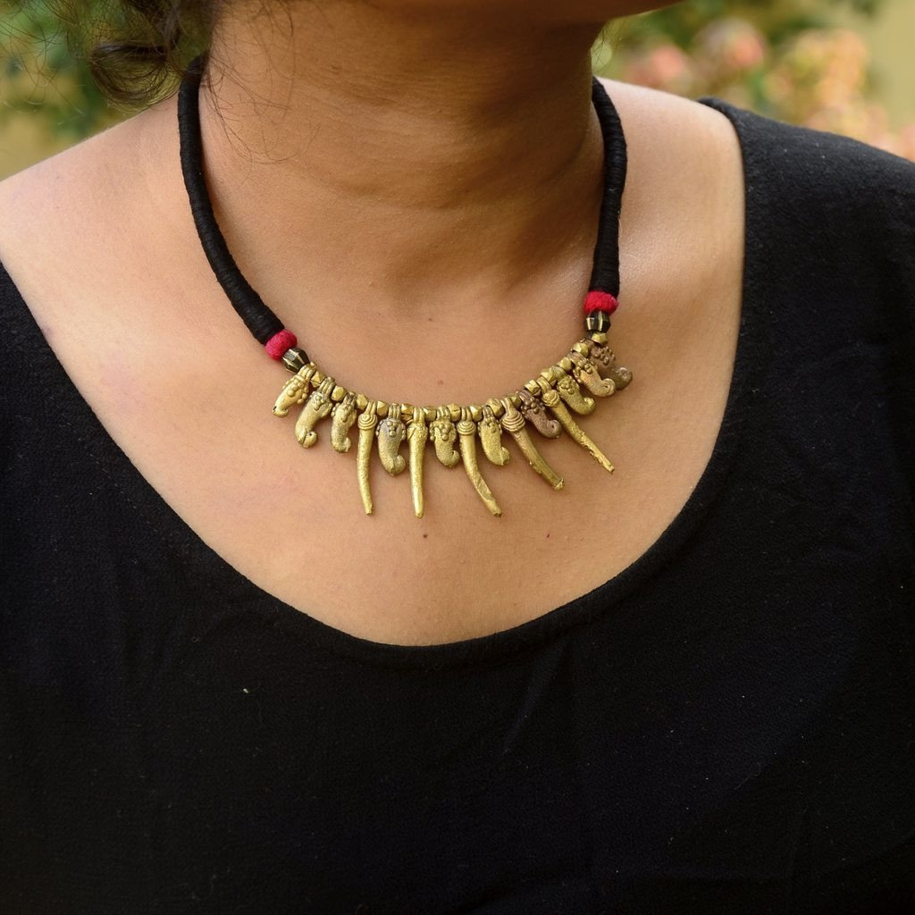 Dhokra Necklace Red Chilly