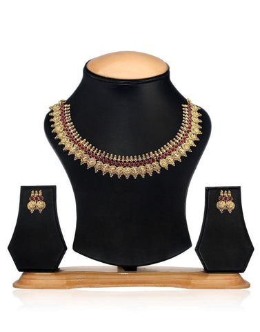 Zaveri Pearls Beautiful Antique Gold Temple Necklace Set