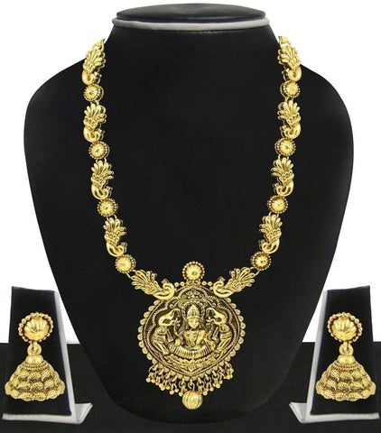Zaveri Pearls Antique Gold Temple Necklace Set With Jhumki Earring