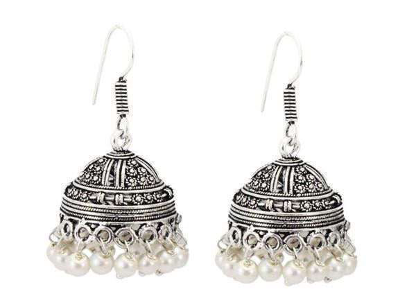 Silver Oxidised Metal Jhumka With White Pearls For Casual Wear